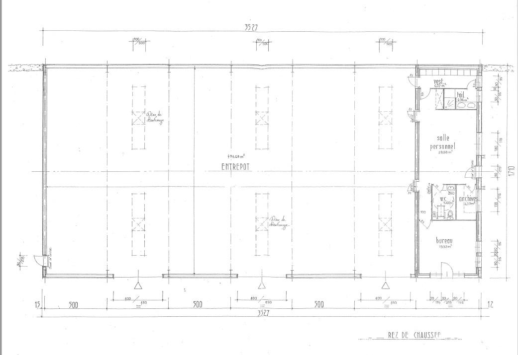 plans intérieurs du hangar à vendre à Erdeven réf 0133