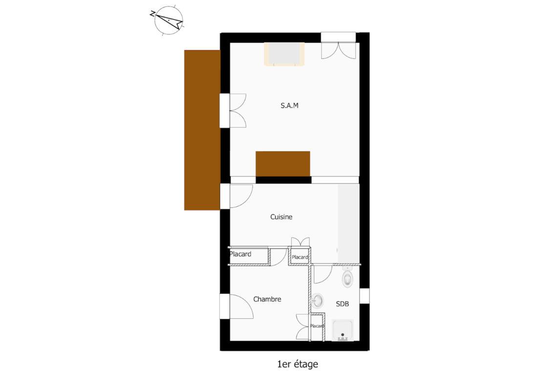 plan du 1er étage de la maison à vendre à Erdeven réf 402