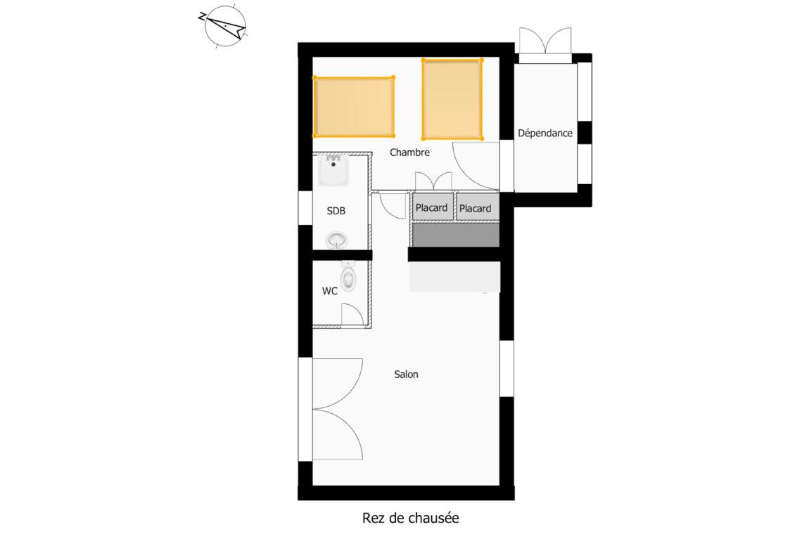 plan du rez-de-chaussée de la maison à vendre à Erdeven réf 402